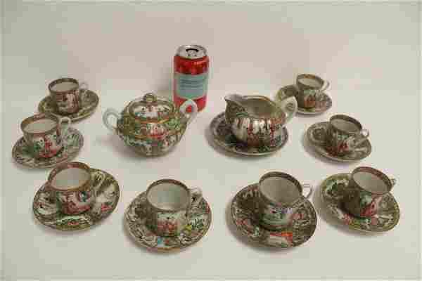18 piece Chinese antique rose canton tea set