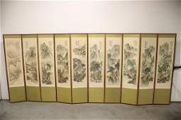 Chinese vintage room divider w signed wc paintings