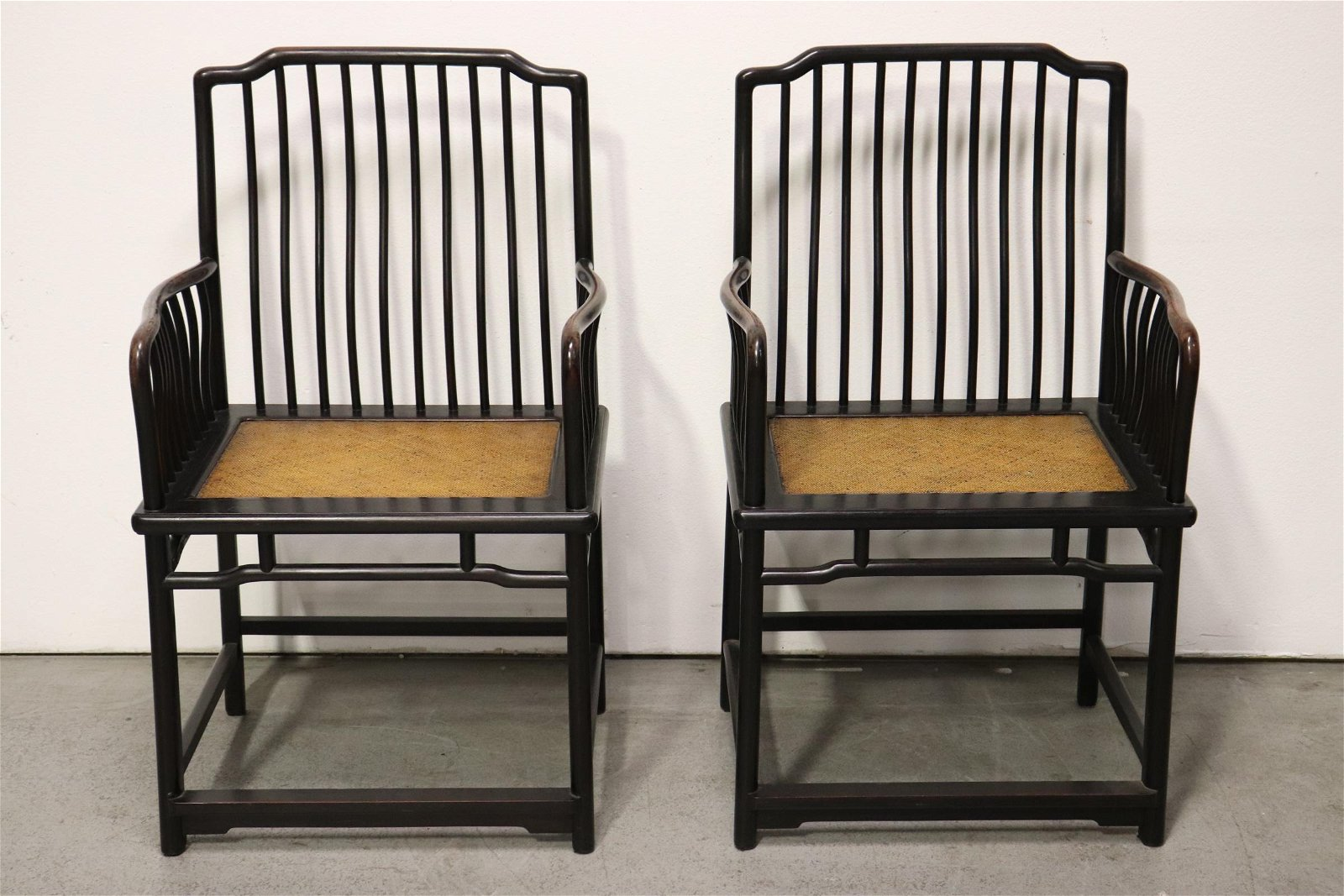 Pair Chinese vintage zitan wood armchairs