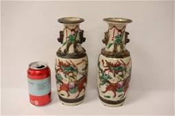 Pair Chinese antique crackleware vases
