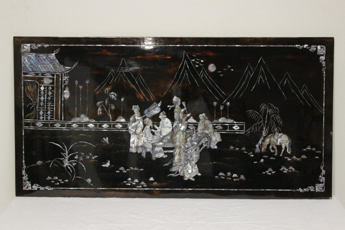 Chinese lacquer panel inlaid with mother of pearl