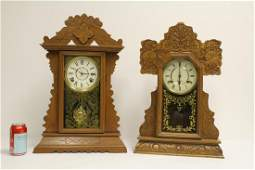 2 Victorian oak kitchen table clocks