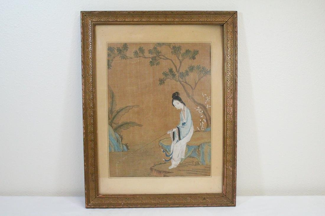 Framed antique Chinese watercolor on silk panel