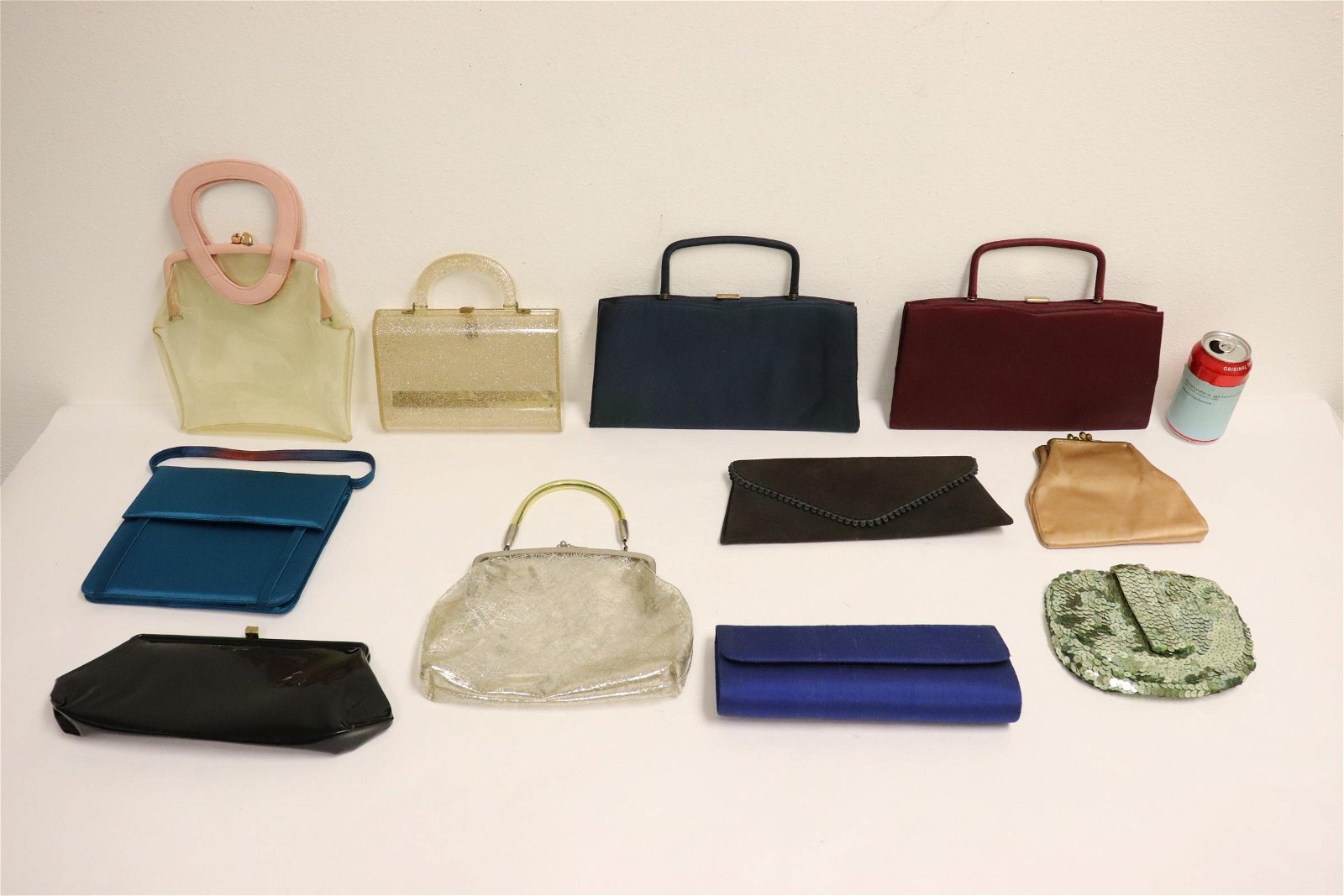8 vintage purses, and 3 deco clear bags