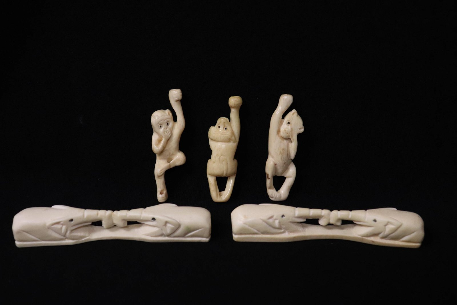 5 piece bone carved ornaments