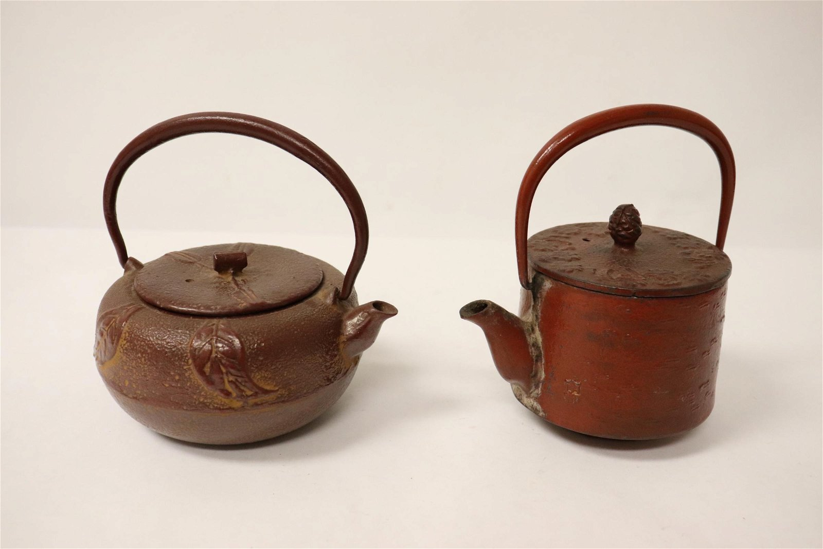 2 Chinese cast iron teapots