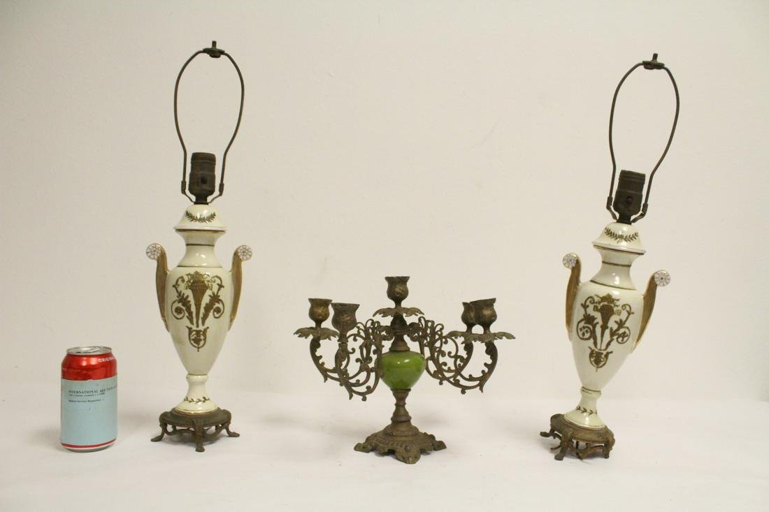 Pair French lamps, and a candelabra