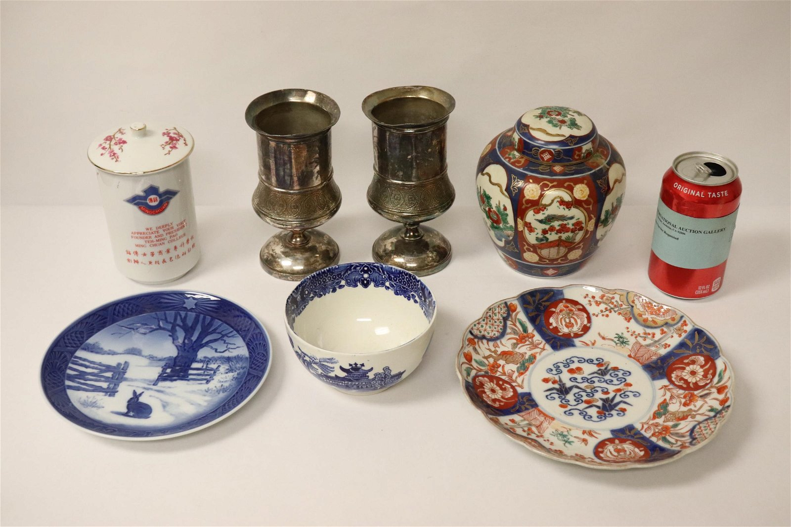 Lot of porcelains, & 2 Victorian silverplate goblets