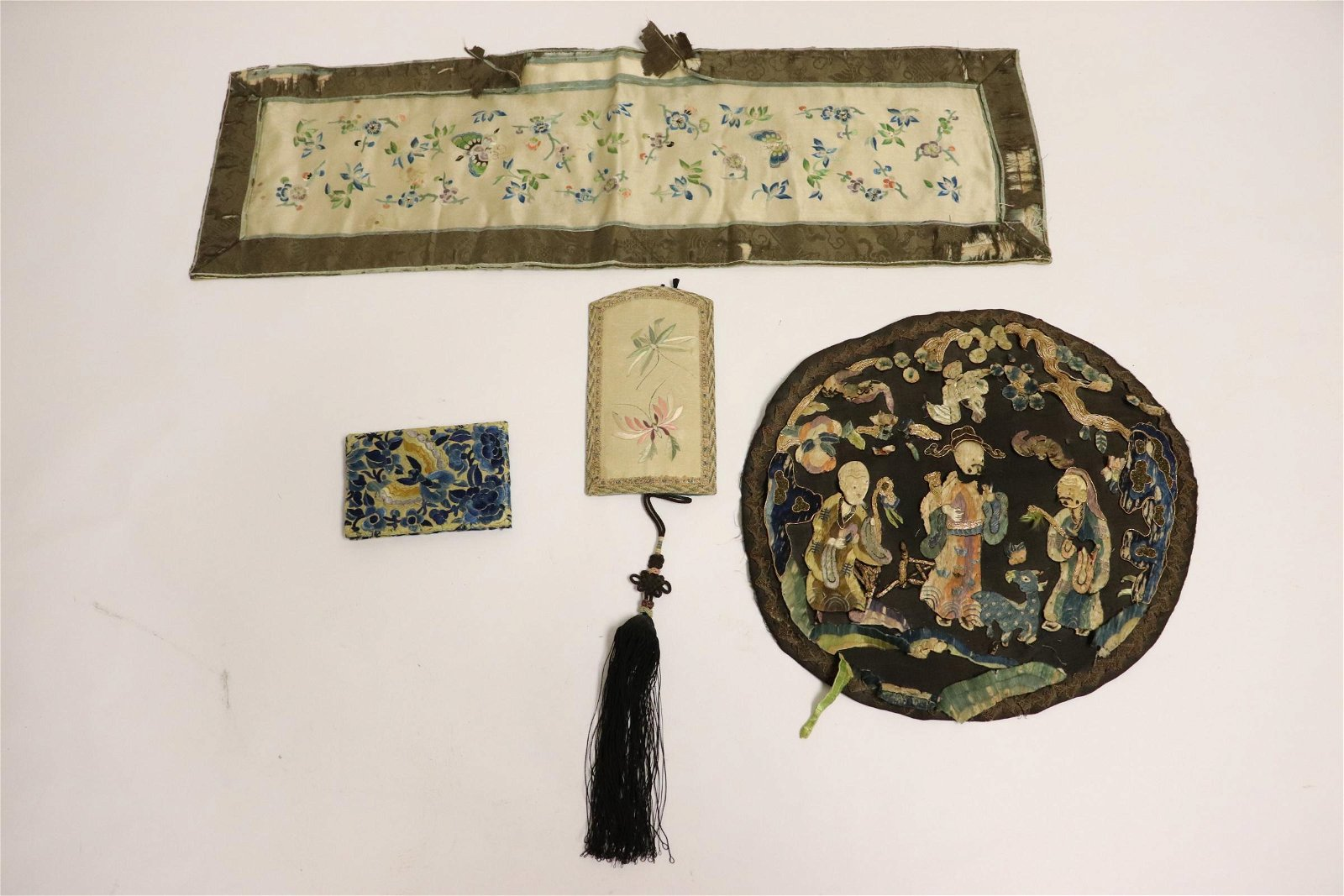 4 Chinese antique embroidery pieces