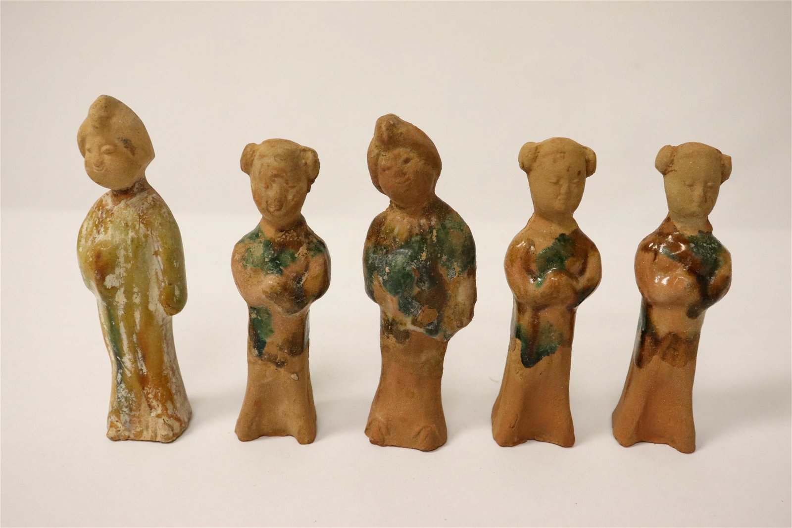 5 Tang style pottery miniature figures
