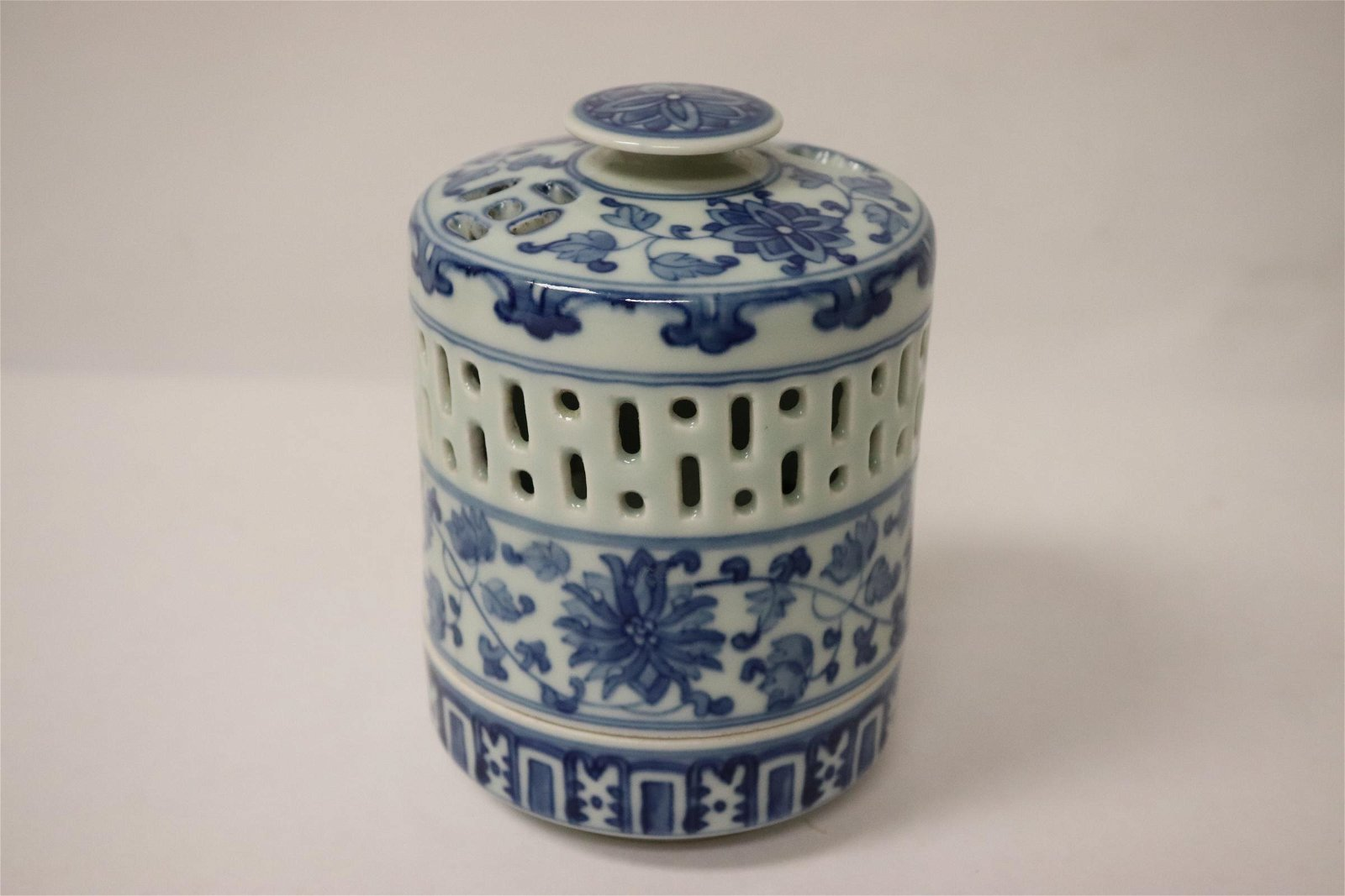 Unusual Chinese blue and white covered censer