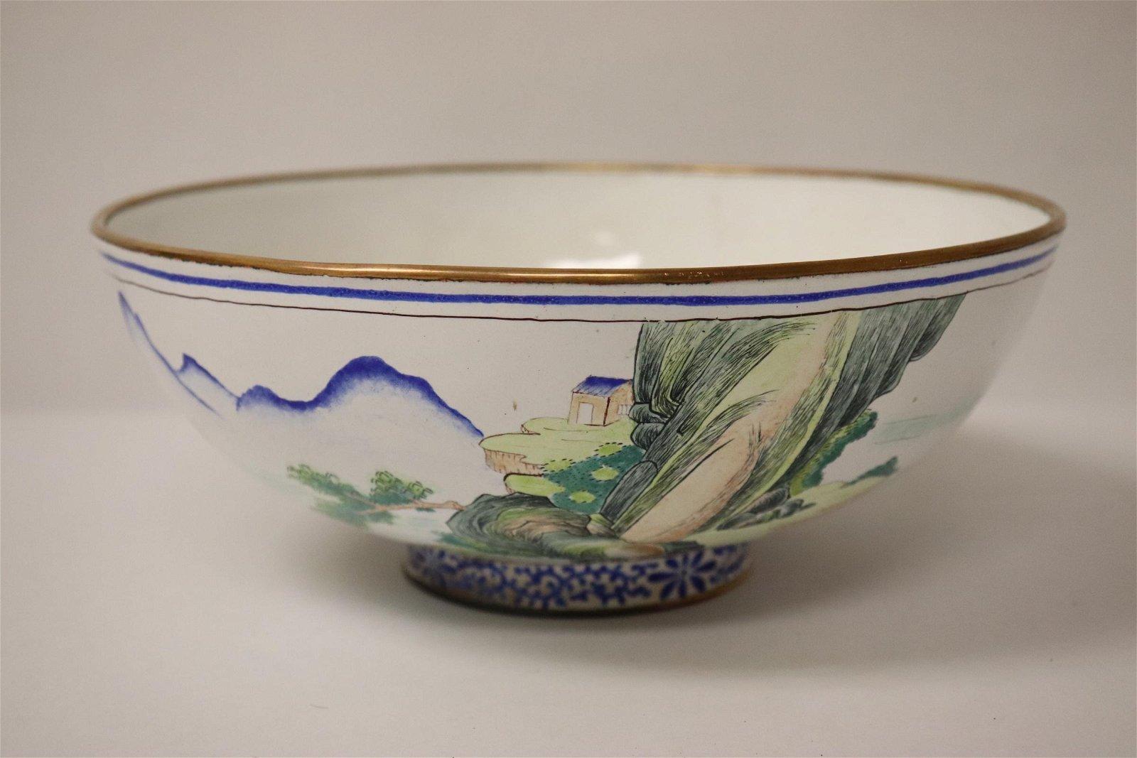 An enamel on copper large bowl