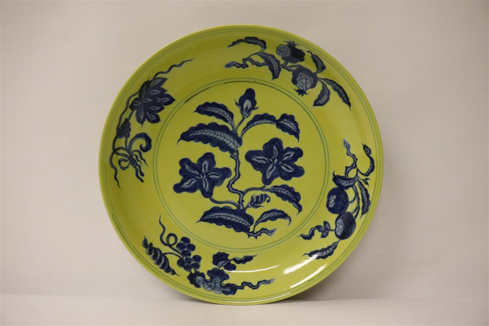 A beautiful Chinese blue on yellow porcelain plate
