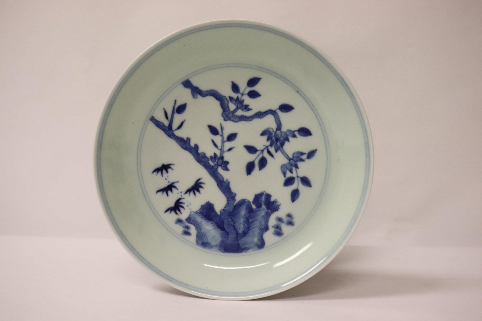 A Chinese small blue and white porcelain plate