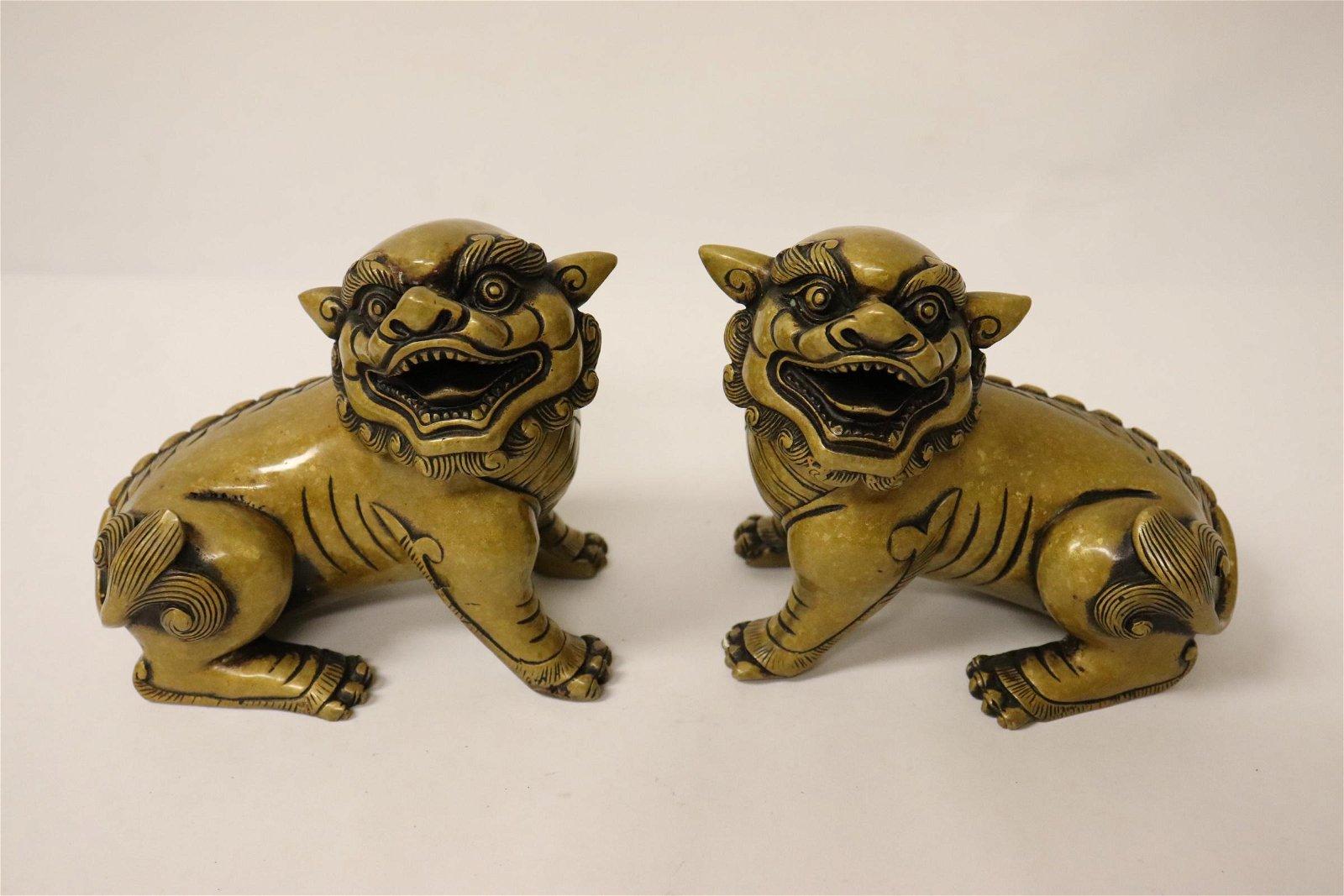 Pair Chinese bronze qilin