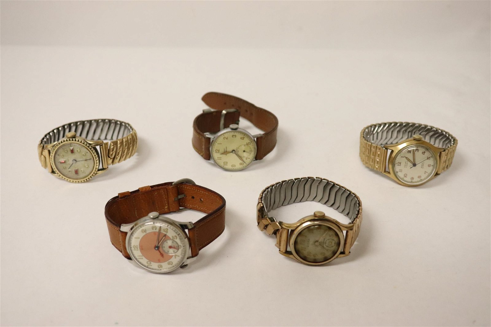5 vintage watches, possible WWII