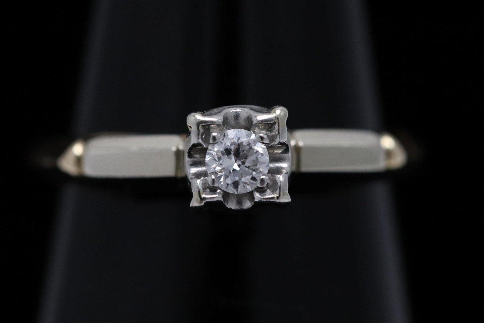 Victorian 14K Y/G w/ 18K W/G top diamond ring
