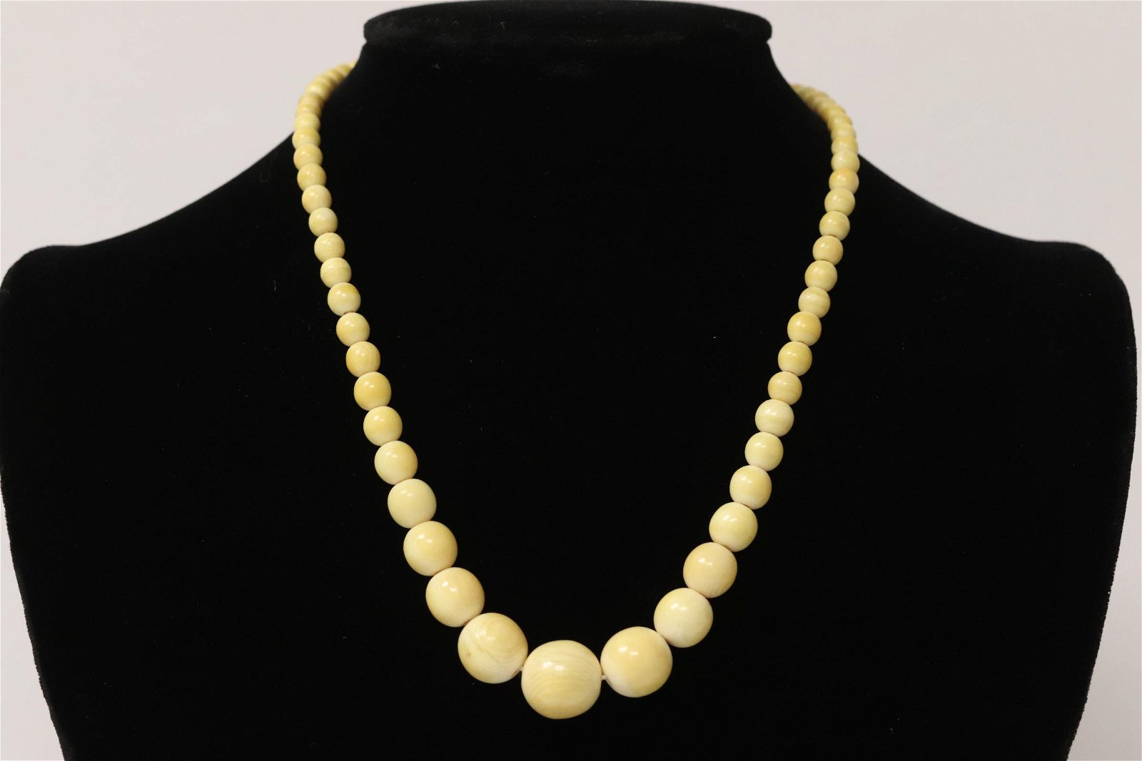 Chinese antique bone bead necklace