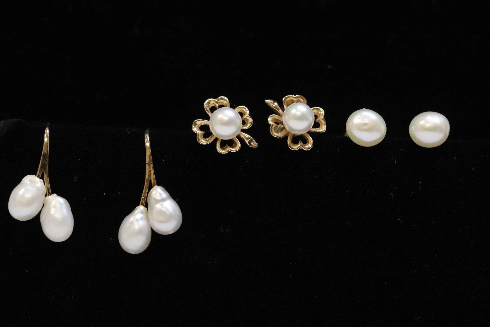 3 pairs 14K Y/G cultured pearl earrings
