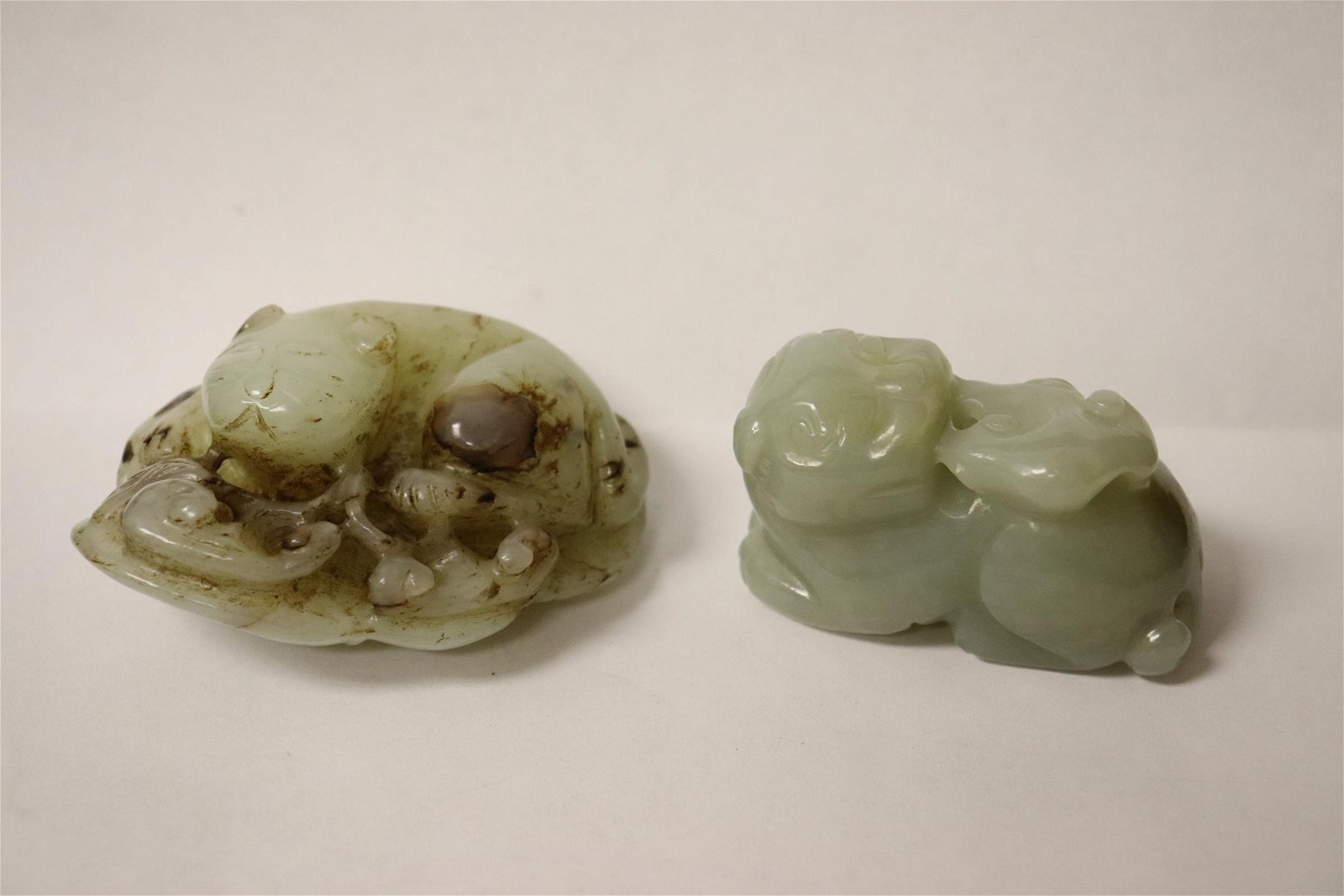 2 fine celadon jade carved qilin