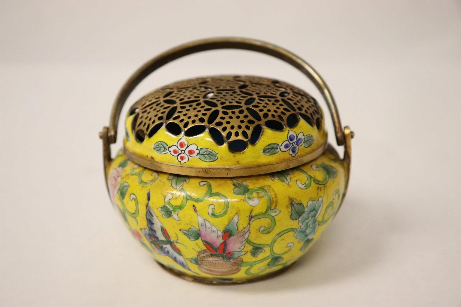Chinese enamel on bronze hand censer