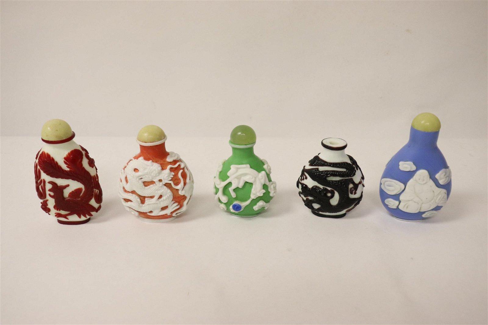 5 overlay Peking glass snuff bottles