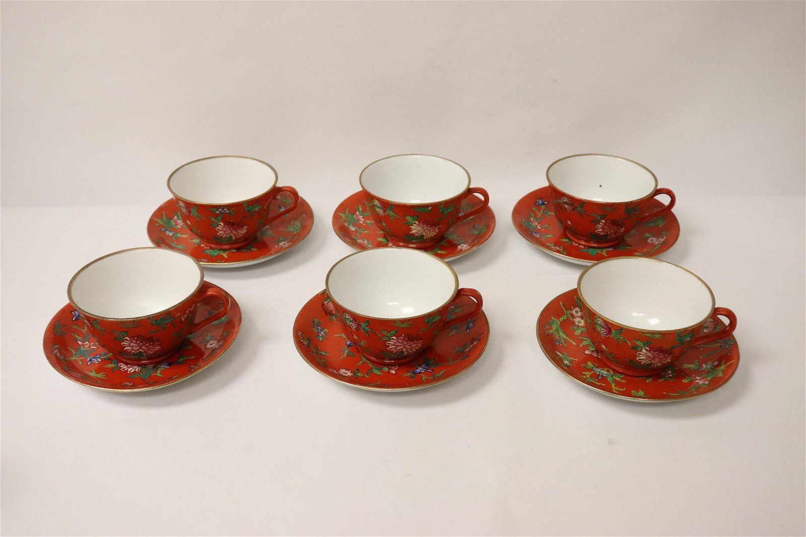 6 Chinese 19th/20th c. porcelain tea cups & underplates