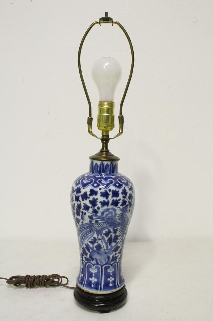 Chinese antique porcelain vase, made as lamp