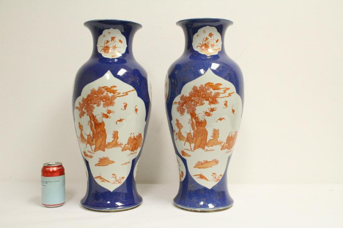 Pair important Chinese large famille rose vase
