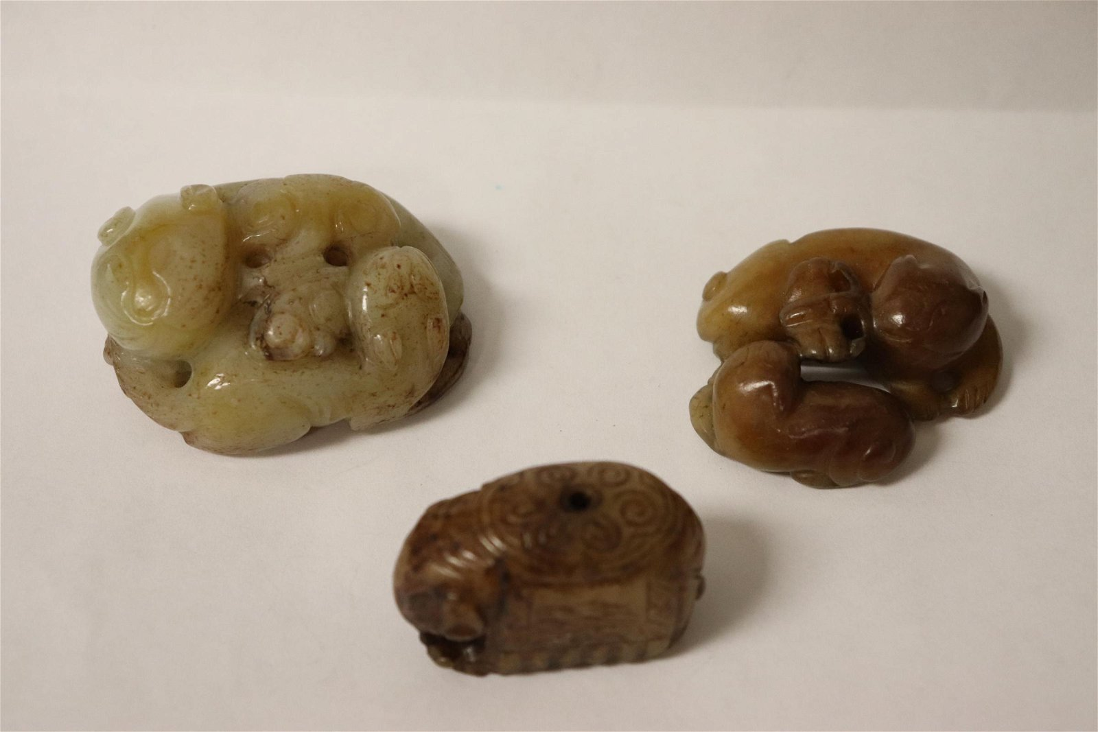 3 white jade carved ornaments