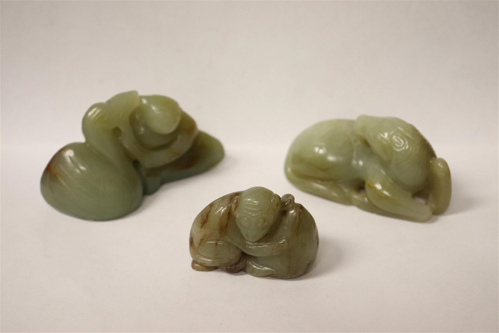 3 celadon jade carved ornaments