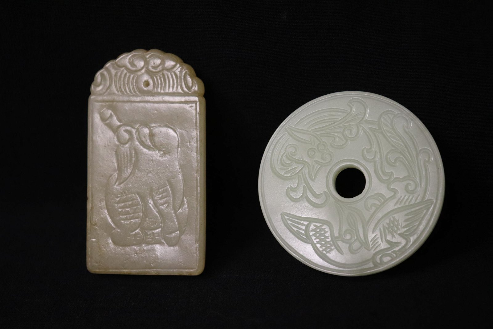 2 celadon jade carved plaque