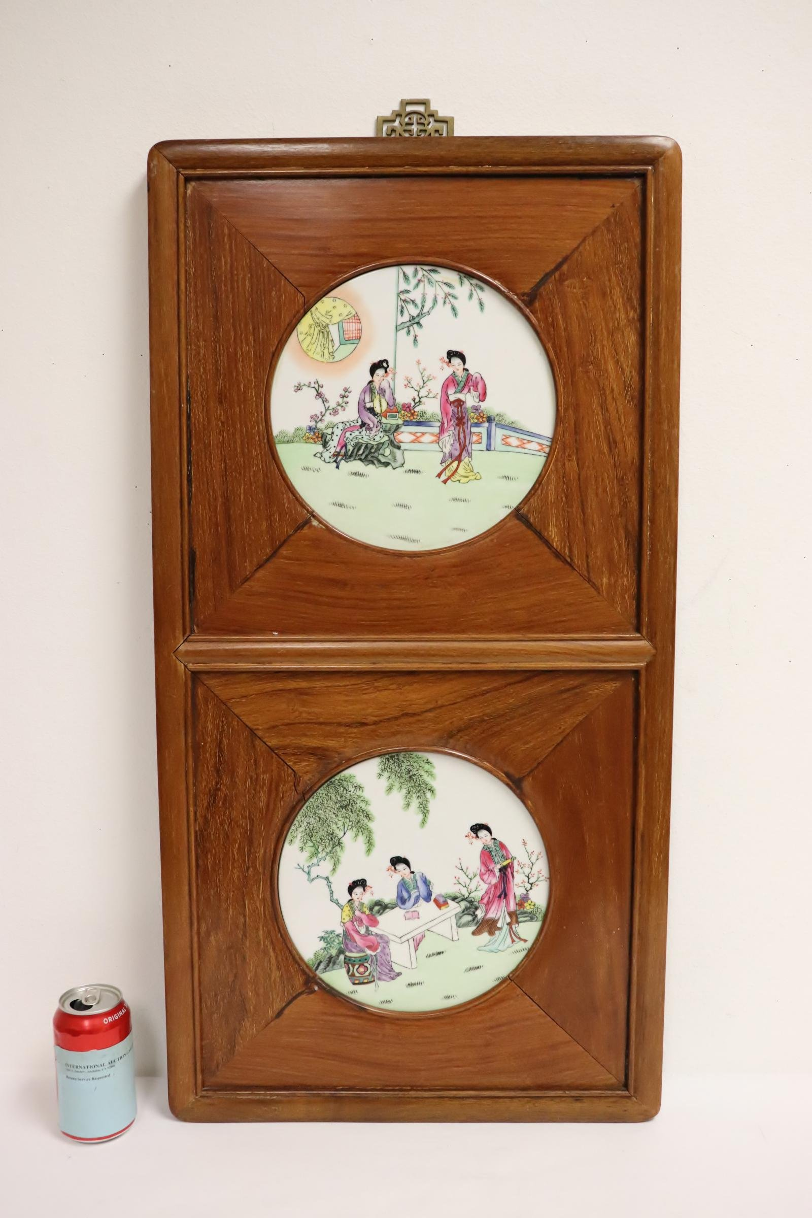 Chinese framed 2 porcelain plaques