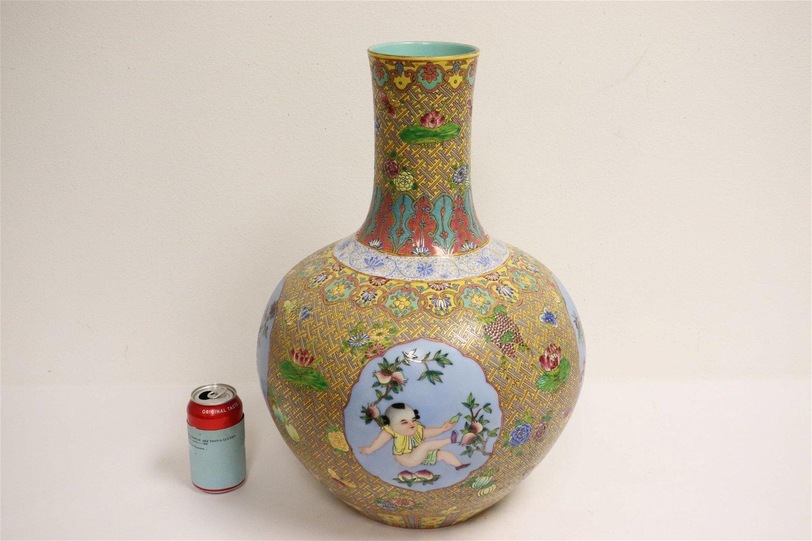 beautiful Chinese famille rose large bottle vase