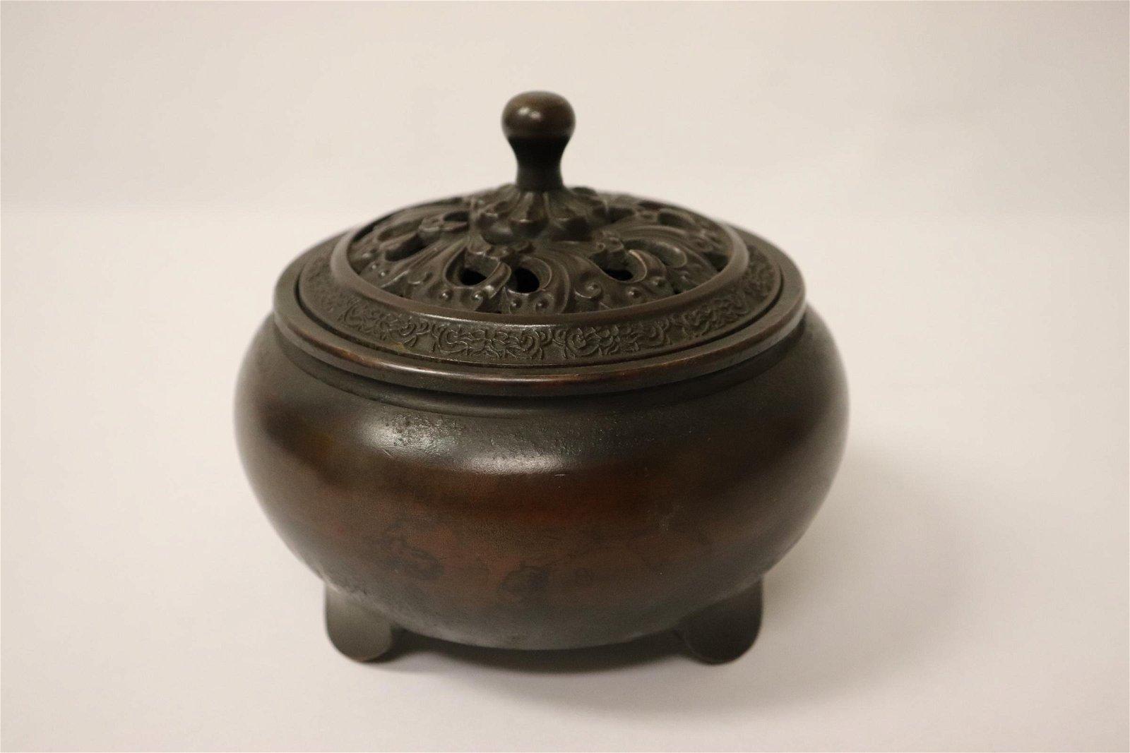 Chinese very heavy bronze covered censer