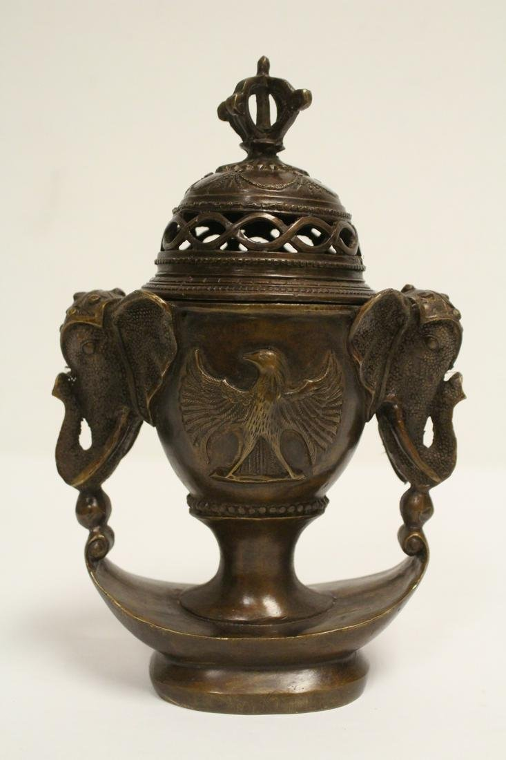 A fancy bronze censer, the handles in elephant motif