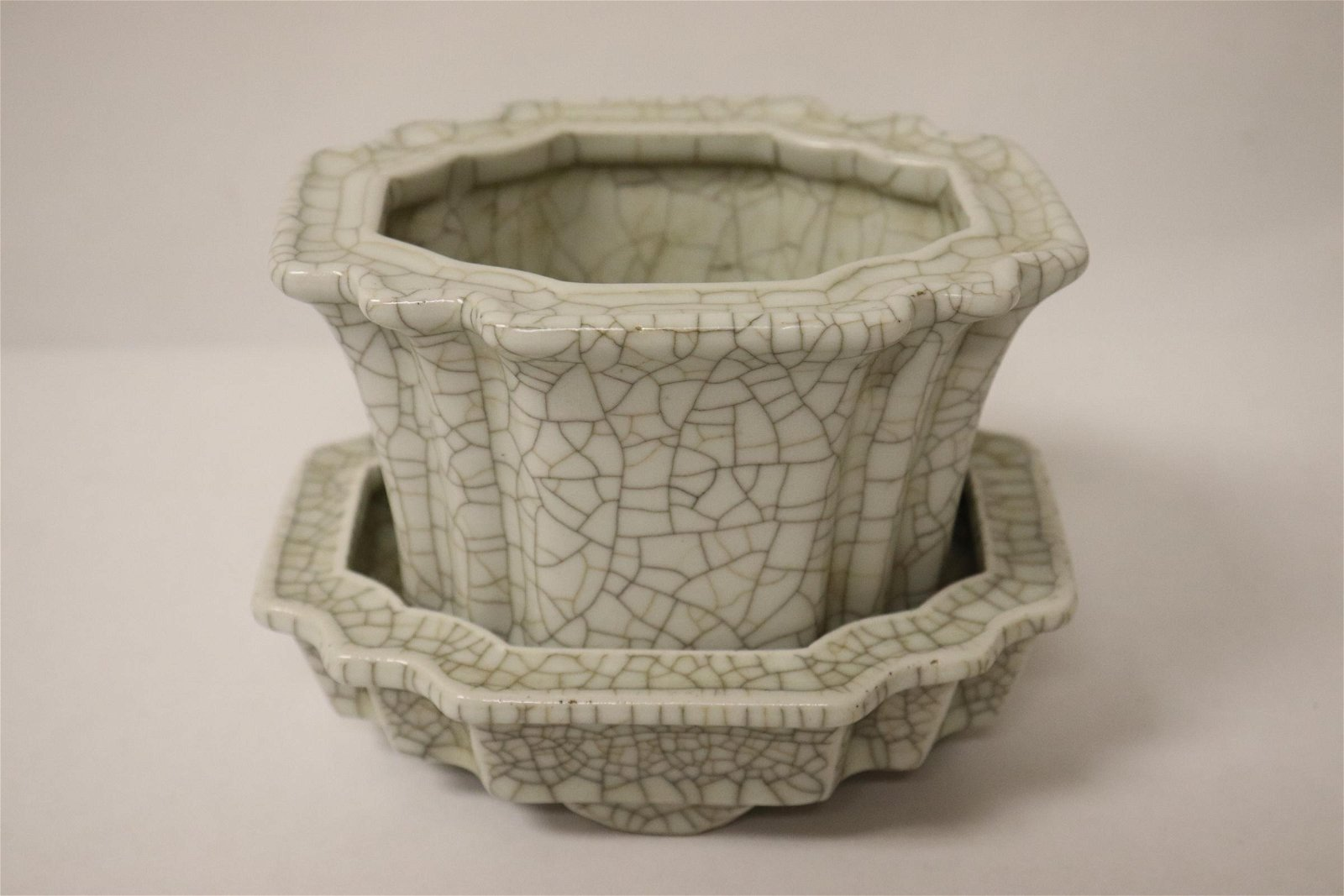 A crackleware planter with underplate