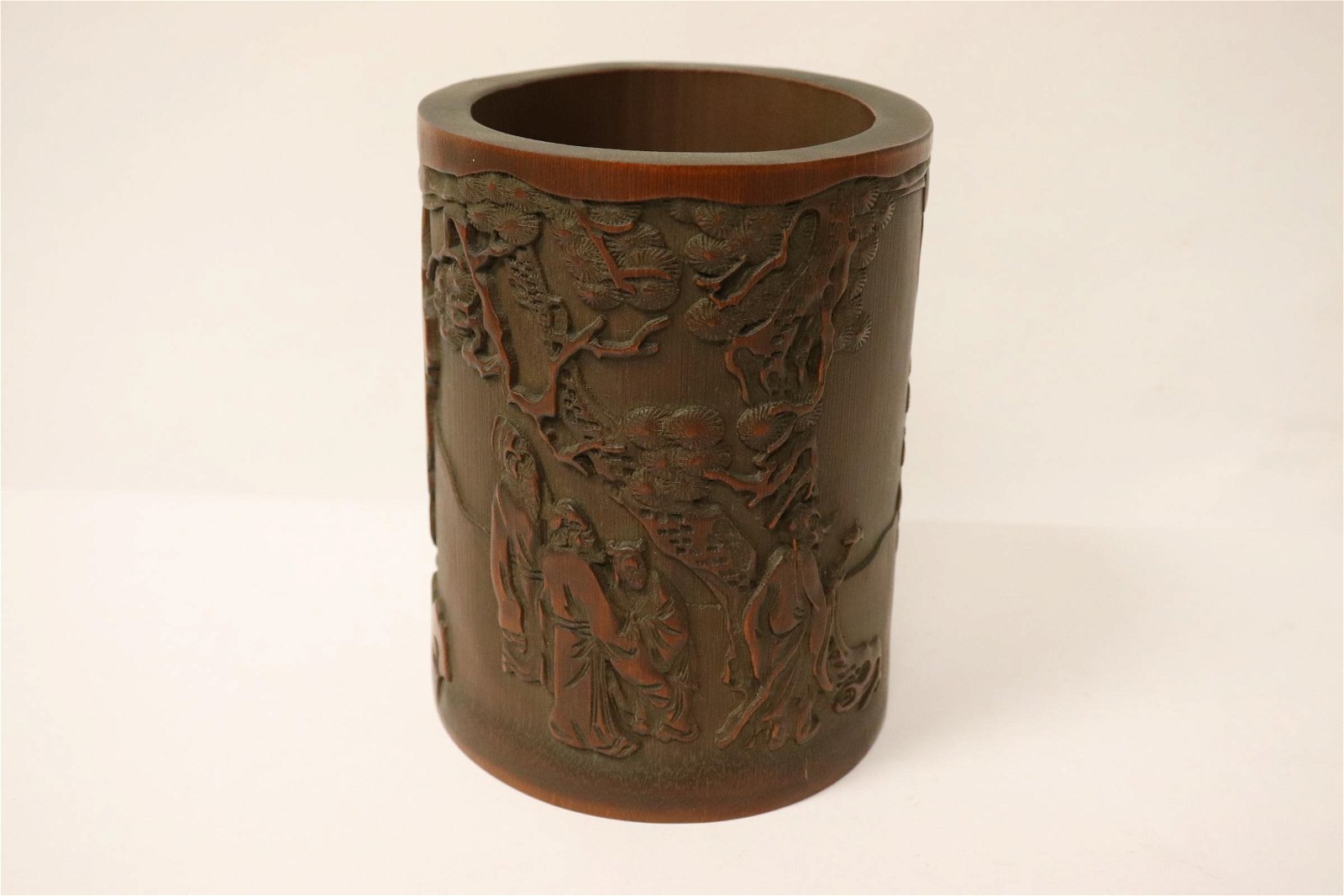 Chinese finely carved bamboo brush holder