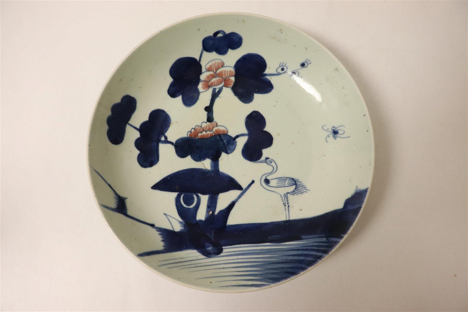 Antique Chinese blue, red and white porcelain plate