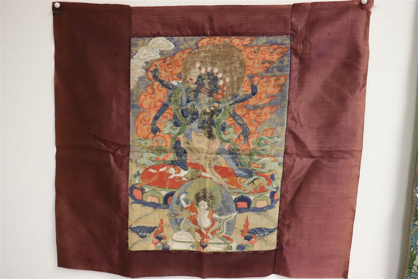 Square hand painted thangka