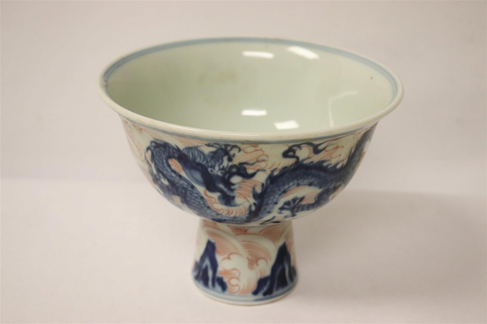 Chinese blue, red and white stem bowl