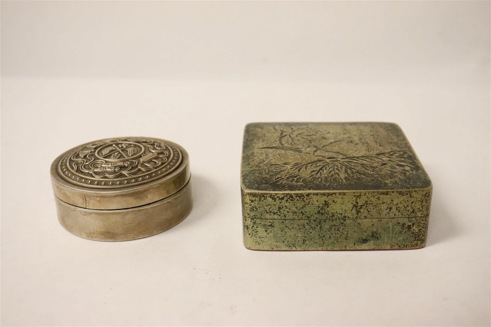 2 Chinese tin/copper ink paste boxes