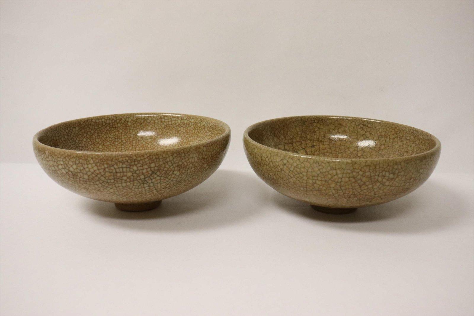 Pair Song style crackleware vase