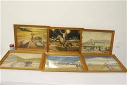 6 framed Western prints