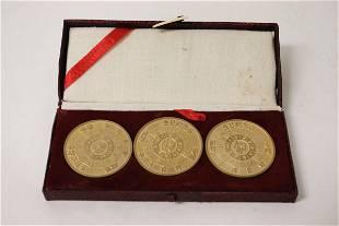 3 Chinese memorabilia coins 175dia each in box