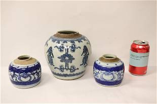 3 Chinese antique blue and white jars