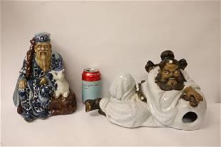 2 Chinese bisque sculpture of deities