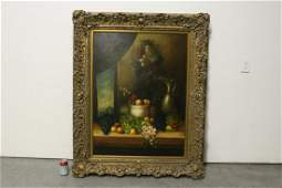 large oil on canvas painting with gilt wood frame
