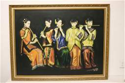 A fine Chinese oil on panel painting