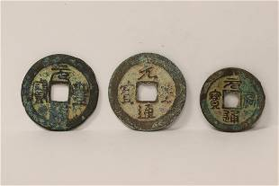 3 Chinese bronze coin